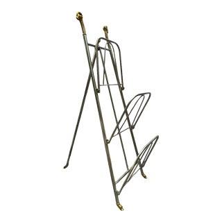 1960s Maison Jansen Style Chrome & Brass Folding Magazine Rack Holder For Sale
