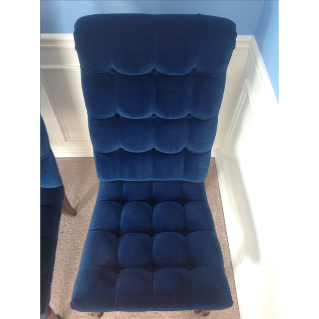 Barclay Butera Velvet Tufted Dining Chairs - Pair - Image 6 of 8