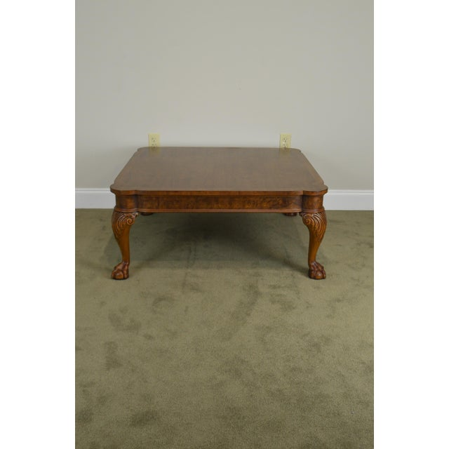Baker Chippendale Style Walnut Claw Foot Large Square Coffee Table