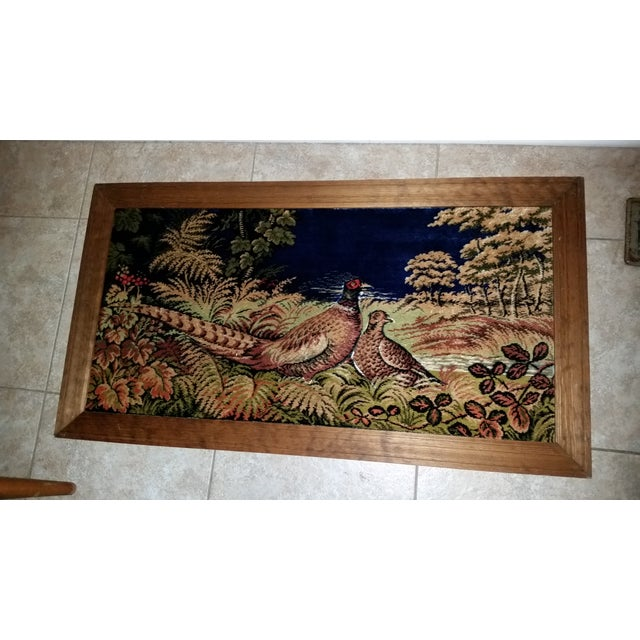 Vintage Pheasant Rug art Picture 3 D A pair of pheasant in a serene setting At touch feels like velvet Each bird is...