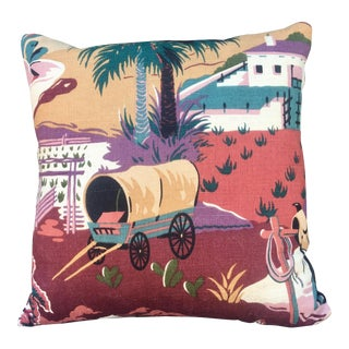 1970s Southwestern Covered Wagon Pillow For Sale