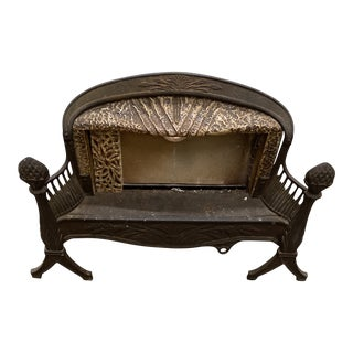 Antique Iron Fire Place With Art Deco Details For Sale