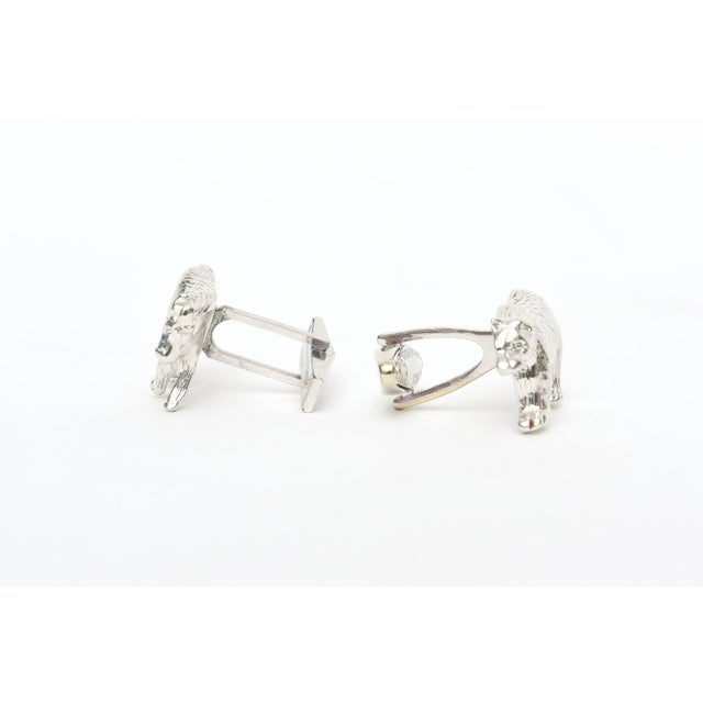 Modern Sterling Silver Bull & Bear Custom Cufflinks - a Pair For Sale - Image 3 of 9