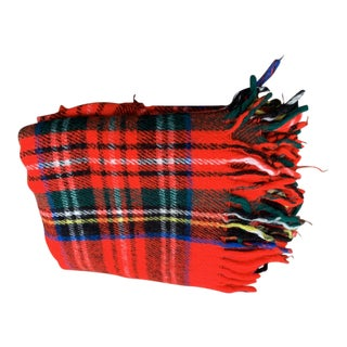 Vintage Red Plaid Throw Blanket For Sale