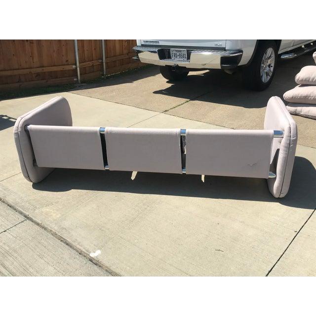 Milo Baughman 1980s Vintage Milo Baughman Style Tubular Chrome Sling Three-Seater Sofa For Sale - Image 4 of 11