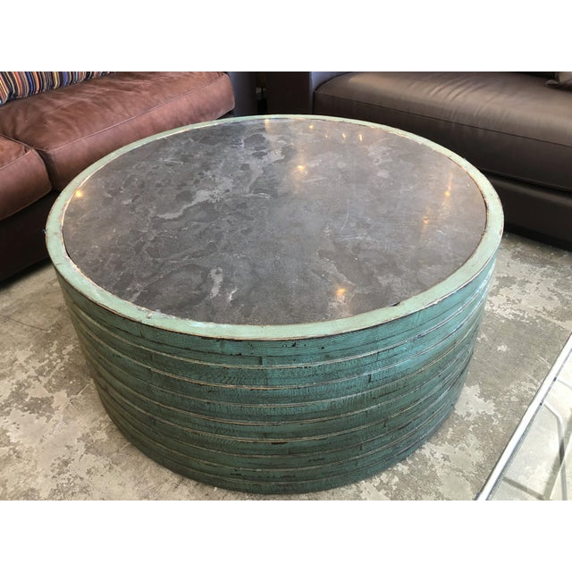 Pine Transitional Classic Home Stone Top Coffee Table For Sale - Image 7 of 7