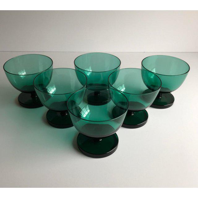 Boho Chic Emerald Green Coupes, Set of 6 For Sale - Image 3 of 5