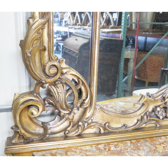 Giltwood Italian Style Figural Gilt Carved & Marble Console &Mirror For Sale - Image 7 of 10