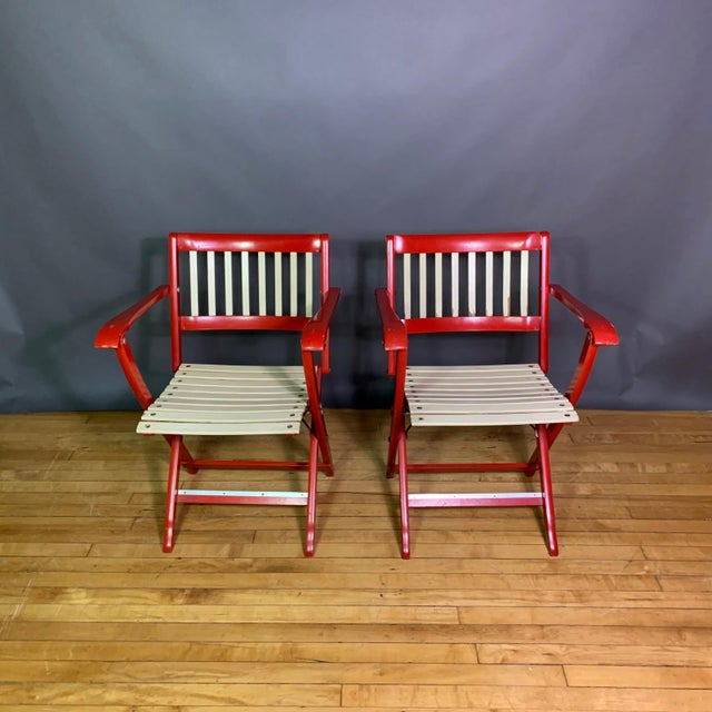 Italian Pair Fratelli Reguitti Lacquered Folding Chair, Italy 1960s For Sale - Image 3 of 13