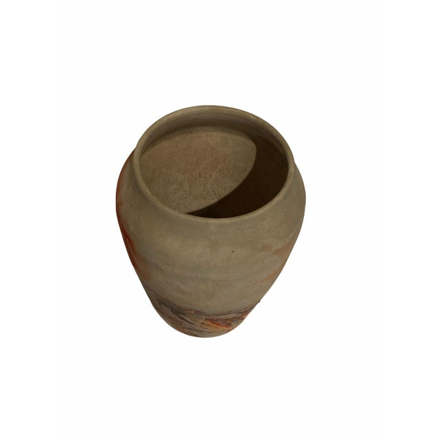 Mid-Century Modern Vintage Nemad Indian Orange Brown Pottery Vase For Sale - Image 3 of 10