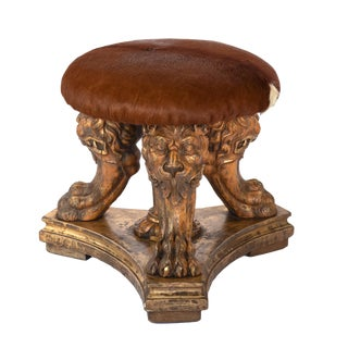 Impressive Tripod Stool With Three Animate Carved Lion's Head & Paws Composed of 19th Century Elements. For Sale