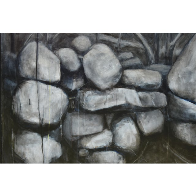 White Large Painting of a Stone Wall For Sale - Image 8 of 11