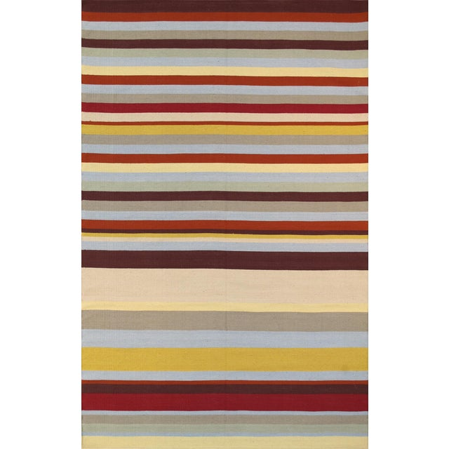 Anatolian Hand-Woven Striped Cotton Rug- 5' X 8' For Sale