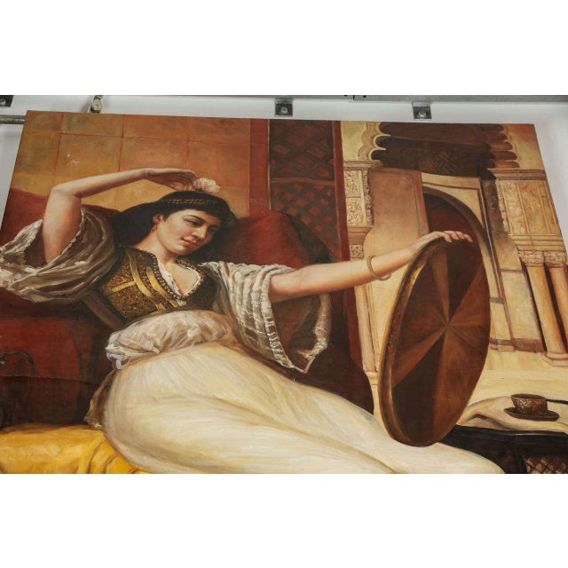 Mid 20th Century Large Orientalist Oil on Canvas For Sale - Image 5 of 7