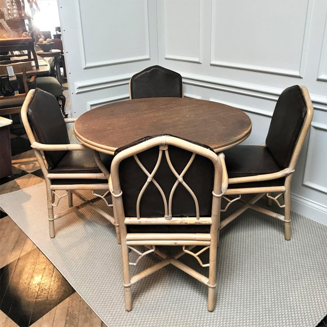1960s Chinoiserie Rattan Dining Table & Chairs - 5 Pieces For Sale - Image 13 of 13