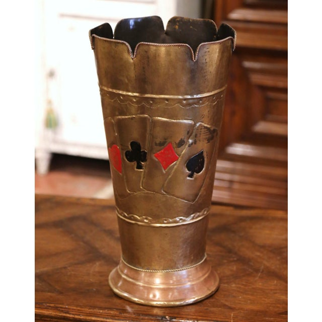 Place this tall, elegant brass umbrella stand at your front door or in your mudroom to catch loose canes and umbrellas....