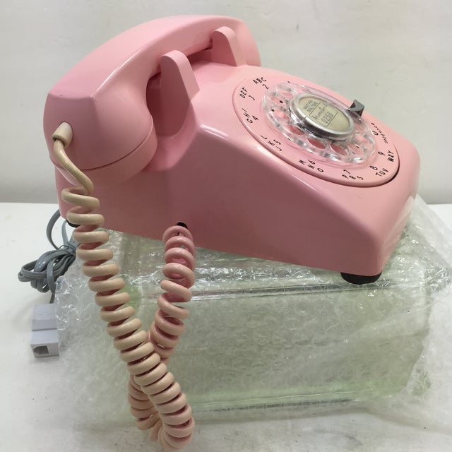 Mid-Century Modern Pink 1964 Date Matched Rotary Dial Desk Phone For Sale - Image 3 of 11