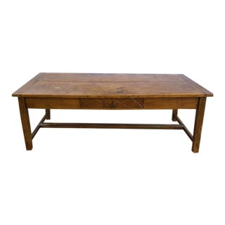Antique Farmhouse French Country 2-Plank Top Refectory Dining Table