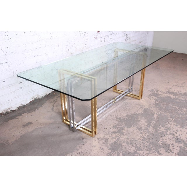 Gold Hollywood Regency Dining Table in Brass, Chrome, and Glass For Sale - Image 8 of 8