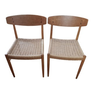 Mid Century Danish Modern Teak and Rope Dining Chairs- A Pair For Sale