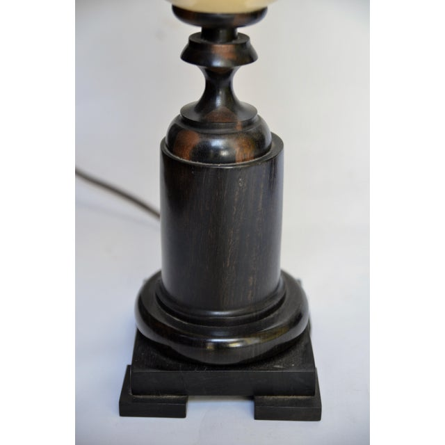 Wood Ostrich Egg and Ebony Base Lamps - a Pair For Sale - Image 7 of 8