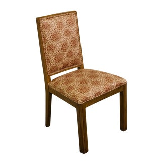 Late 20th Century Vintage Davis Cabinet Co. Solid Walnut Upholstered Dining Side Chair For Sale