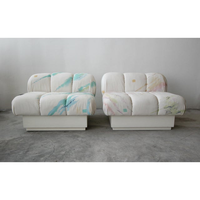 Cubism Custom Post Modern Italian Style Pair of Slipper Chairs Artist Signed Fabric For Sale - Image 3 of 9
