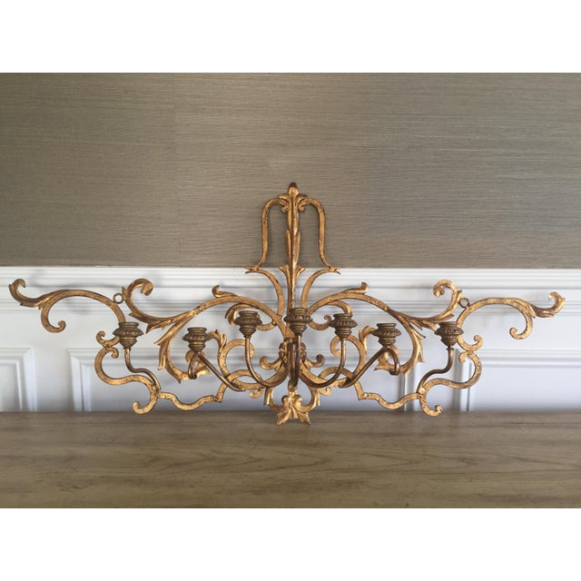Gold Wall Mount Candelabra - Image 2 of 7