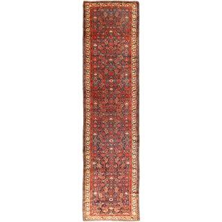 "Vintage Persian Hamadan Runner Rug 3'4"" X 13'4"""