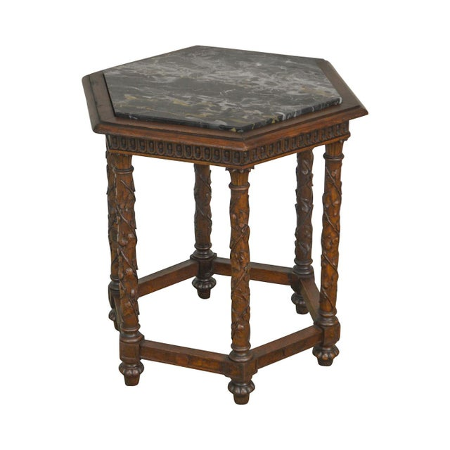 Antique Italian Carved Walnut Hexagon Marble Top Taboret Side Table For Sale - Image 13 of 13