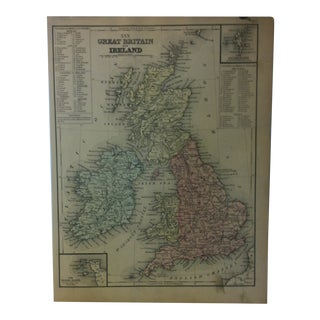 """Antique Mitchell's New School Atlas Map, """"Great Britain & Ireland"""" by e.h. Butler & Co. Publishers - 1865 For Sale"""