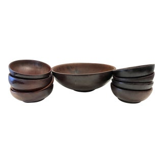 Mid Century Wooden Salad Bowls - Set of 9