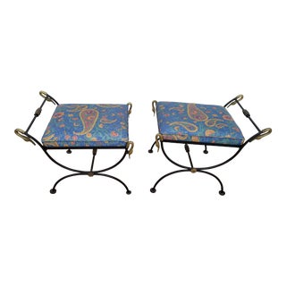 1960s Vintage Labarge Italian Brass Swan Details Stools- A Pair For Sale