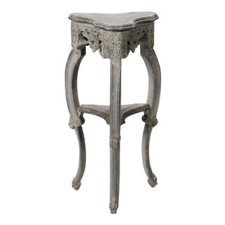 Small French Blue Grey Trefoil Side Table For Sale