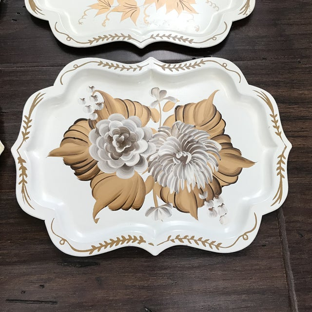 Cottage 20th Century Cottage Hand Painted Tole Trays - Set of 4 For Sale - Image 3 of 6