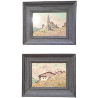 Petite Continental Paintings - A Pair For Sale