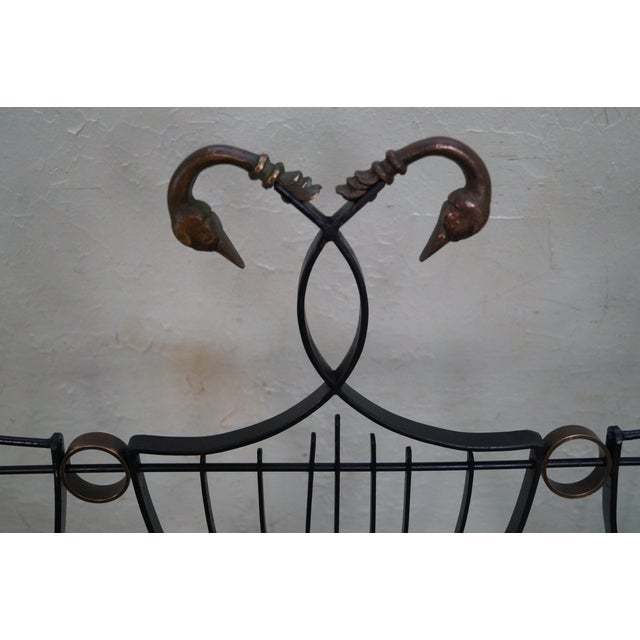 Pink Vintage Italian Black Wrought Iron Lyre Back Settees - A Pair For Sale - Image 8 of 10
