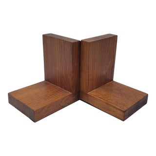 Mid-Century Modern Wooden Bookends - a Pair For Sale