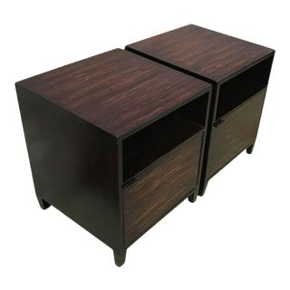 20th Century Pair of Ebonized Macassar Nightstands or Side Tables With One Door For Sale