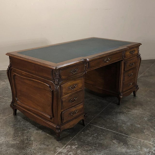 19th Century Louis XIV Walnut Partner's Desk For Sale - Image 4 of 13