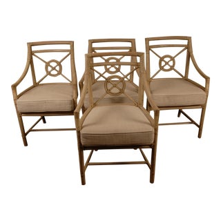 1970s Elinor McGuire Target Back Arm Chairs - Set of 4 For Sale