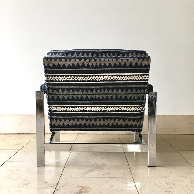 Cy Mann Pair of Chrome Framed Armchairs by Cy Mann 1970s For Sale - Image 4 of 9