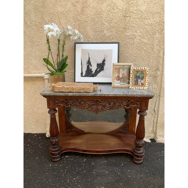 Late 19th Century Victorian Entry Table Console With Marble Top For Sale - Image 10 of 11
