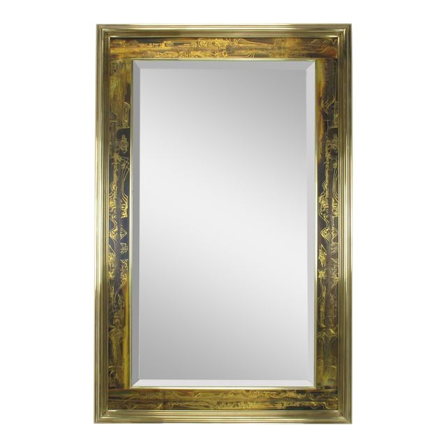Pair of Mastercraft Bernhard Rohne Acid-Etched Frame Beveled Mirrors - Image 1 of 8