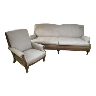Restoration Hardware Deconstructed Roll Arm Sofa and Chair Set For Sale