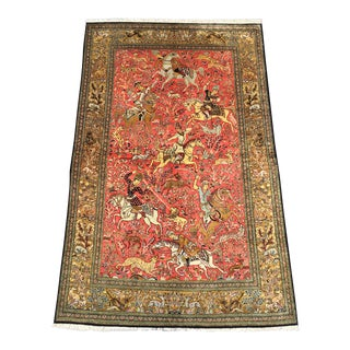 Silk Shah Abbasi Quoom Area Rug - 4x5 x 7.2 For Sale