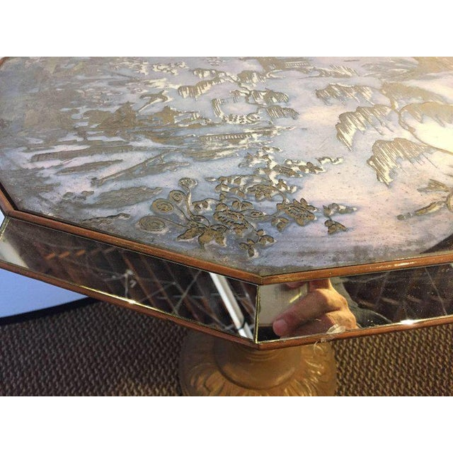 1940s Chinoiserie Style Center Table with Eglomise Glass Top on a Single Pedestal For Sale - Image 5 of 10