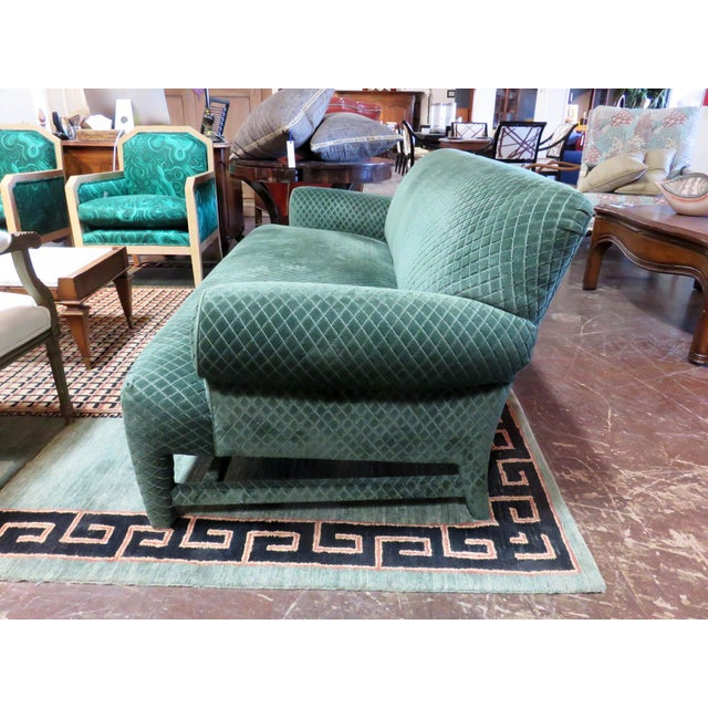 Contemporary Donghia Loveseat Sofa Upholstered in Rose Cumming Dark Green Diamond Cut Velvet For Sale - Image 3 of 8