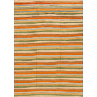 21st Century Multicolored Striped Turkish Kilim Rug For Sale