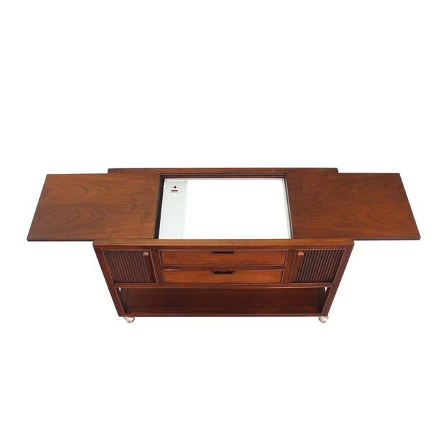 Lacquer Walnut Server with Hidden Electric Dish Warmer For Sale - Image 7 of 9